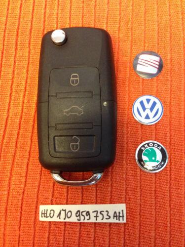 VW Seat Skoda 3 Botones Remoto Clave Fob 1J0 959 753 Ah 1J0959753AH Hoja De Corte Libre
