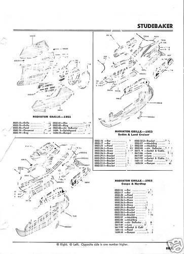 46 47 48 49 50 51 52 53 54  Studebaker NOS Grille Guide
