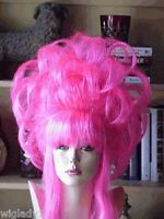 Sin City Wigs Funky Wild Neon Hot Pink Layers Pieces Volume Up Do Bangs Drag