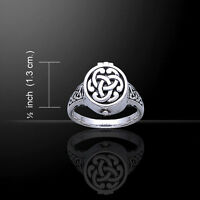 Celtic Knotwork .925 Sterling Silver Poison Ring By Peter Stone