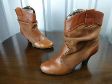 "Womens slouch boots size 6 leather Dune ladies 6 UK boots brown ankle 2.5"" heels"