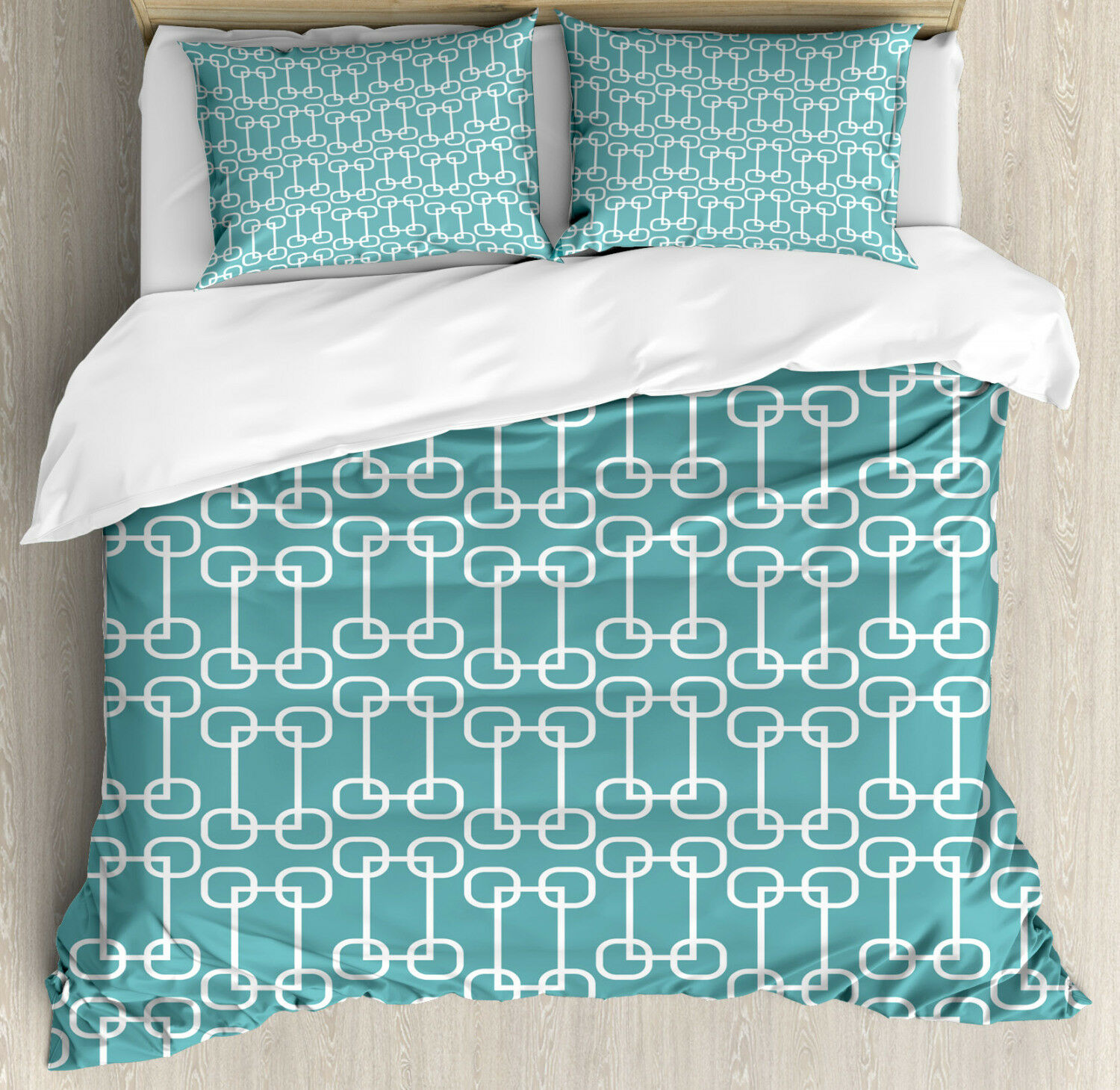 Turquoise Duvet Cover Set with Pillow Shams Retro Squared Rounds Print