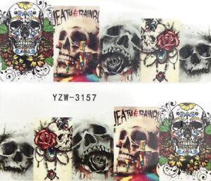 Nail-Art-Stickers-Water-Decals-Transfers-Halloween-Skulls-Roses-YZW-3157