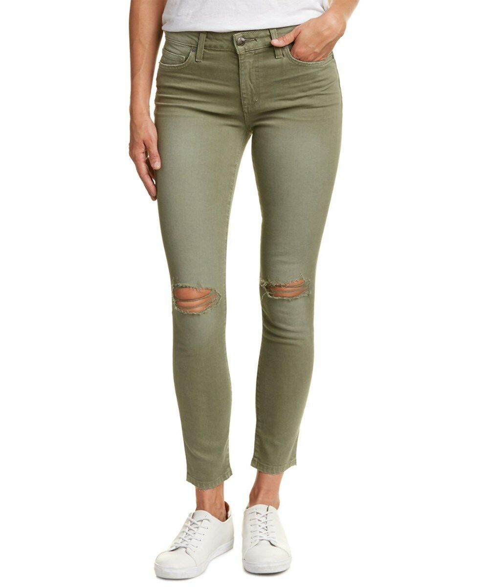 NWT Joe's Jeans The Skinny Ankle in Military Green Destroyed Stretch Jeans 31