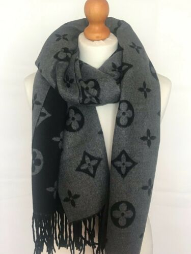 Woman Warm Soft Clover Pattern Reversible Fringed 100/% Cashmere Scarf Shawl Wrap