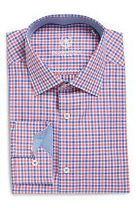 * NWT Bugatchi Trim Fit Check Dress Shirt NWT 16.5 34/35, 16 34/35