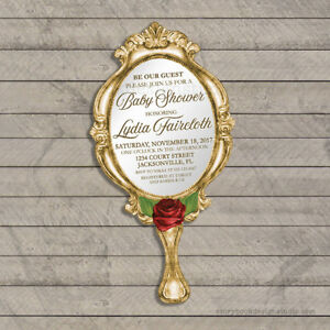 Image Is Loading Beauty And The Beast Baby Shower Invitations Die