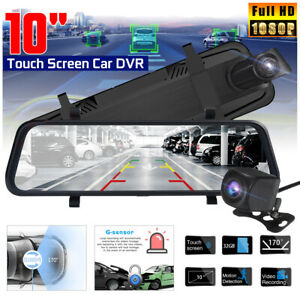 10-039-039-Car-DVR-1080P-FHD-Dual-Lens-Camera-Rear-View-Mirror-Dash-Cam-Night-Vision