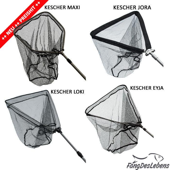 Kescher 6 Größen, Teleskop, gummiertes Netz, Raubfischkescher  (GP n. Auswahl)