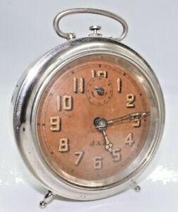 JAZ-Pre-1941-Chrome-Round-Alarm-Clock-RARE-Clocks-Working-GUC
