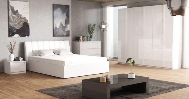 Komplett Schlafzimmer Italia Hochglanz Weiß Kleiderschrank, Bett und 2x NaKo