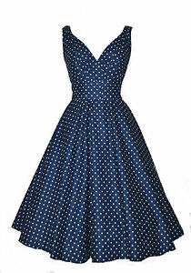 New Ladies 1940 S 1950 S Vintage Style Navy Dot Flared