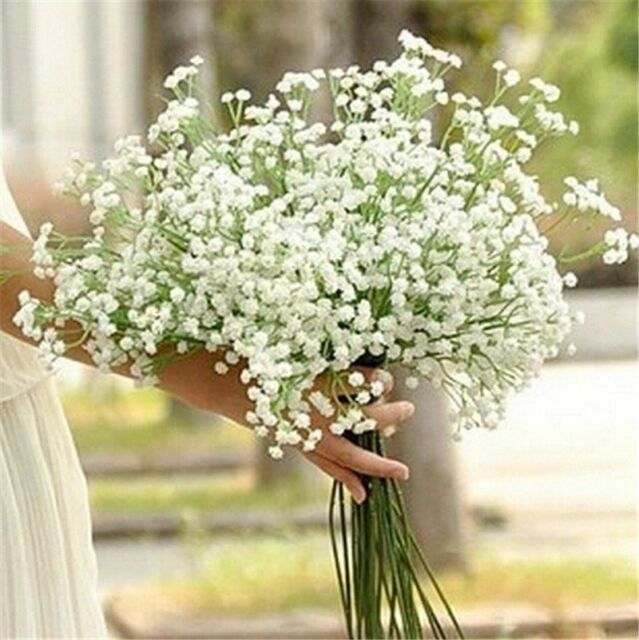 Home Decor Artificial Flowers White Gypsophila Floral Bouquet Fake ...