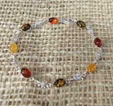Cognac Lemon Green Baltic Amber Sterling 925 Silver Bracelet Jewellery
