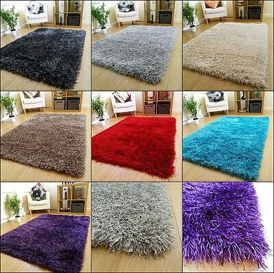 NEW LARGE SMALL THICK SOFT SHAGGY PILE RUGS HAND MADE HIGH QUALIT SILKY PILE RUG