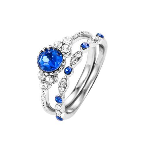 2Pcs Set Damen Kristall Ringe Hochzeit Verlobung Ringe Schmuck Hübsch #v Tsa/_