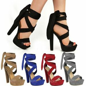 b57fa9306f715 WOMENS LADIES TIE LACE UP ANKLE HIGH HEELS BLOCK PLATFORMS PARTY ...