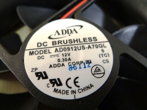 ADDA 12V DC ULTRA SPEED 92 mm x 92mm x 25mm Quiet Brushless FAN AD0912US-A70GL
