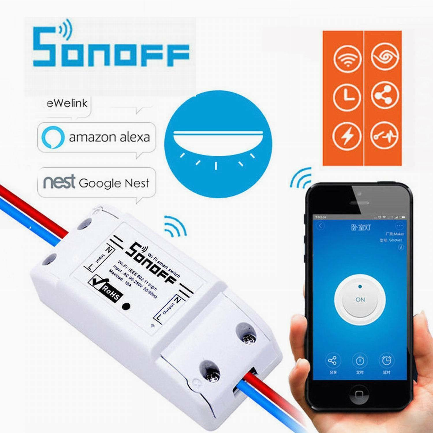 Sonoff Smart Home 10A WiFi Wireless Switch Module For Apple Android APP Control