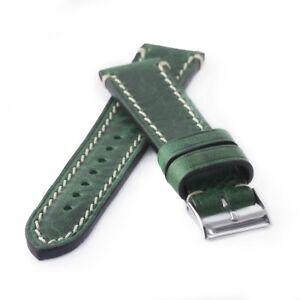 Uhrenarmband-Kaufmann-Saddle-Vintage-stitched-dunkelgruen-Kalb-Leder-Armband-NEU