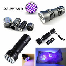 21 LED UV Ultra Violet Flashlight Mini Blacklight Aluminum Torch Light Lamp