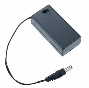 1 x  9V PP3 Battery Holder Box Case With Cover Switch DC 2.1 5.5mm Power Plug