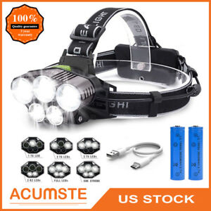 Super-bright-80000LM-LED-Headlamp-5X-T6-Headlight-Torch-Rechargeable-Flashlight