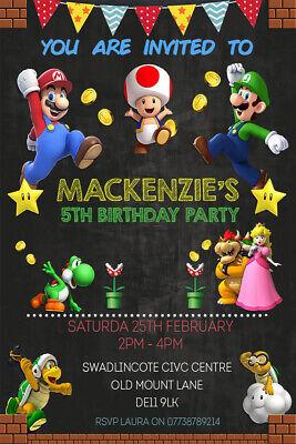 Personalised Super Mario Bros Birthday Party Invites inc envelopes SM3