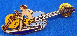 Newport-Playa-Prototipo-Muestra-Azul-Surf-Surfer-Guitarra-Hard-Rock-Cafe-Pin