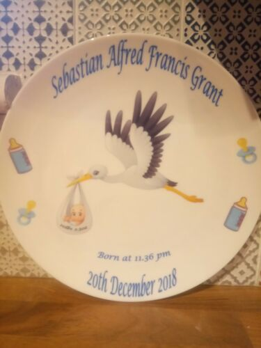 Personalised Christening//Baptism//Naming Day//New Baby Gift Plate Stork
