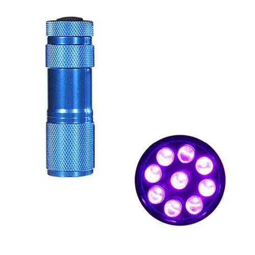 LAMPE DE POCHE 9 LED LUMIERE UV DE COULEUR BLEU