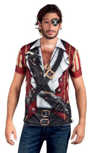 MENS DELUXE CARIBBEAN PIRATE BUCCANEER FANCY DRESS COSTUME 3D T-SHIRT PARROT NEW