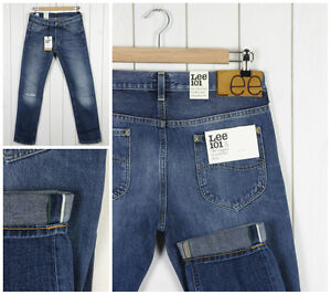 Neuf-LEE-101S-fin-Rider-Jeans-lisieres-341-369ml-Conique-L32-L34-Tous-tailles