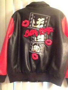 fa43b6e11 Details about Authentic Women's Betty Boop Bomber Jacket With Sequins  Raised Applicates In 2X