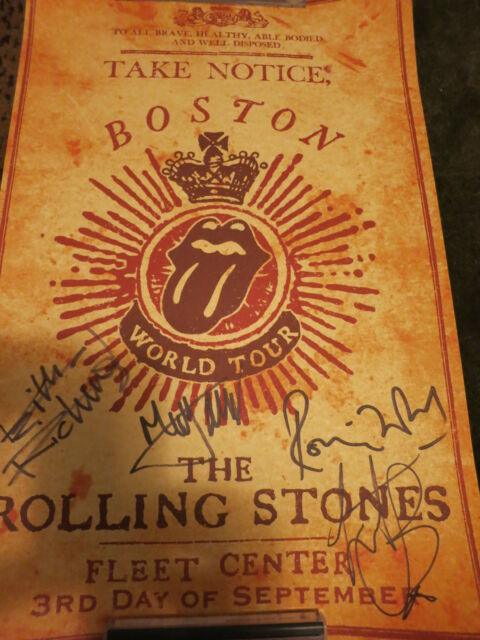 ROLLING STONES SIGNED POSTER BY ALL 4 PROOF + COA! MICK JAGGER KEITH RICHARDS
