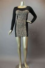 New with Tag MINK PINK Stretchy Black Jersey Leopard Cheetah Mini Dress Large