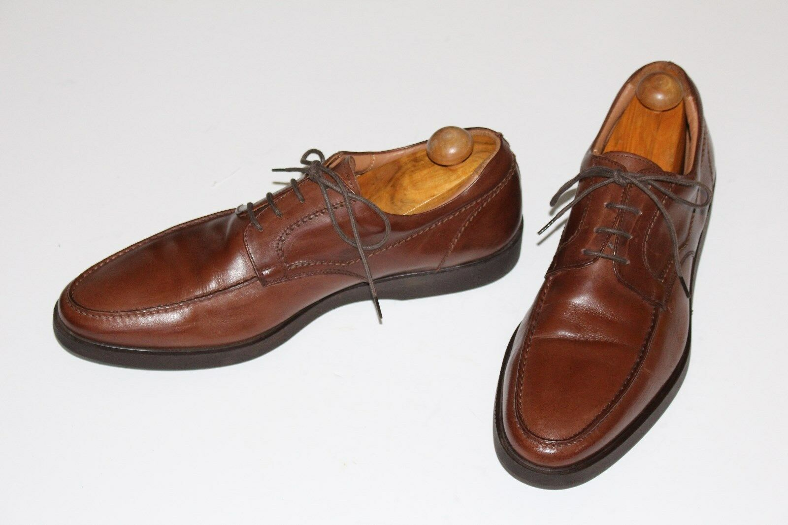 Mike Konos 12 Brown Leather LaceUp Oxfords Rubber Soles Cushioned Sock Liner Gel