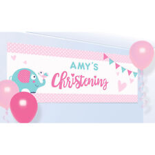 X 2 PERSONALISED CHRISTENING BOY GIRL BANNERS WALL DECORATIONS PINK YELLOW RED