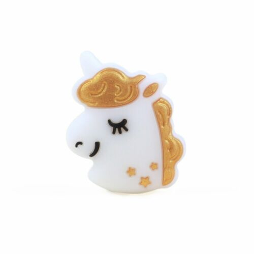 5Pcs Mini Unicorn Silicone Teething Beads BPA Free DIY Baby Nursing Chewable Toy