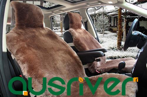 Brown Premium Quality Australian Sheep Skin Car Long Wool Front Seat Cover Set