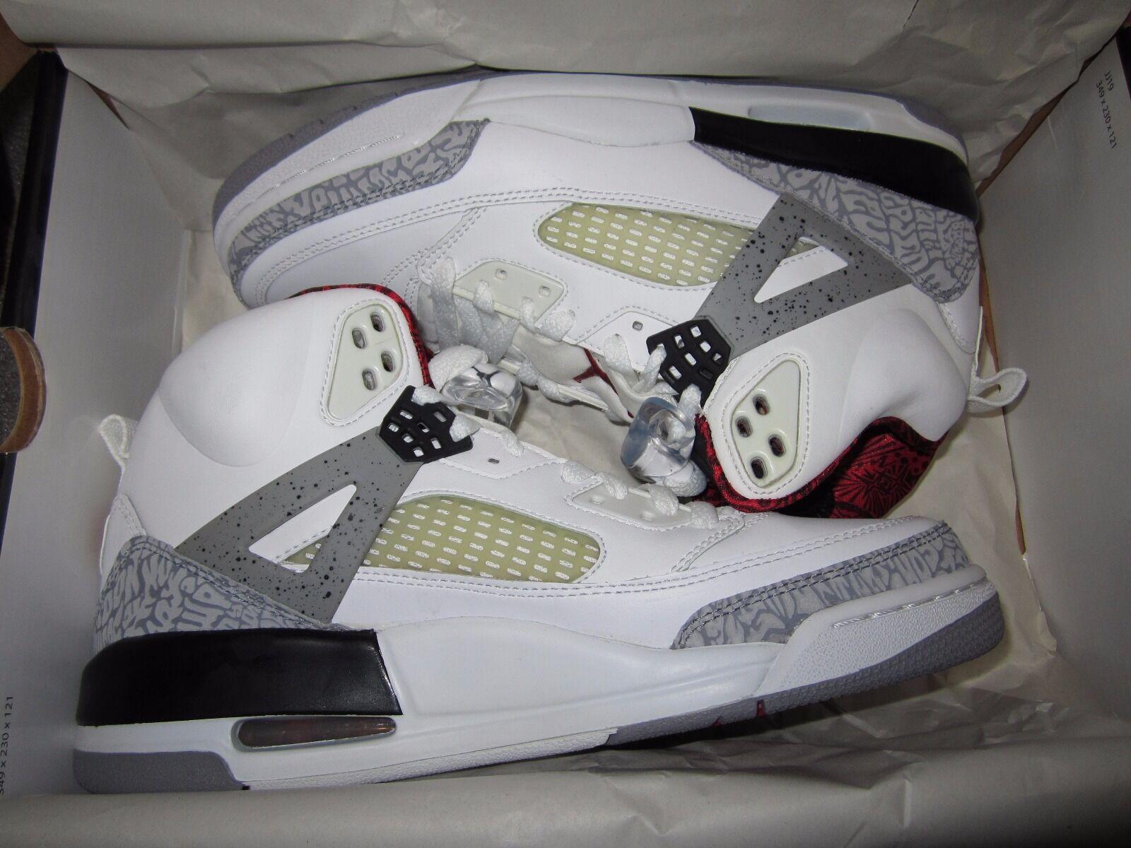 2008 Nike 9 Air Jordan Spiz'Ike White/Cement Grey-Vrsty Rd-Blk Sz 9 Nike BRAND NEW DS! 48195f