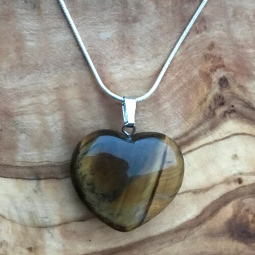 "Tiger/'s Eye Crystal Heart Pendant 25mm with 20/"" Silver Necklace Positivity"
