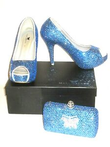 Details about Marc Defang High Heels Blue Crystal Peep Toe Size 9