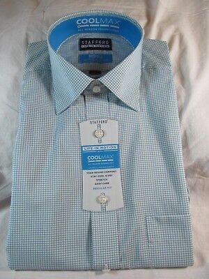 Stafford Easy Care Dress Shirt Regular Fit Stretch Solid Dark Blue NWT New Men/'s