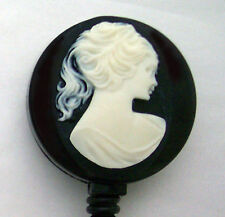 CAMEO Retractable ID Badge Reel/ Key Card Holder Key Chain Ring Black Oval