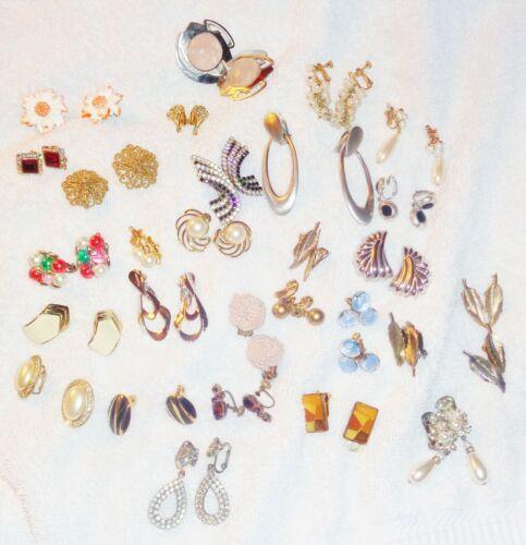 Lot Of 29 Pairs Vintage Clip Earrings 3 Monet, 2 T