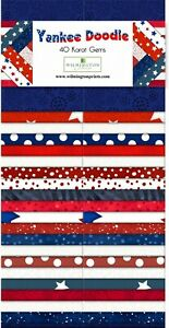 Jelly-Roll-Yankee-Doodle-40-Strips-Wilmington-Prints-Duplicates-Red-White-Blue