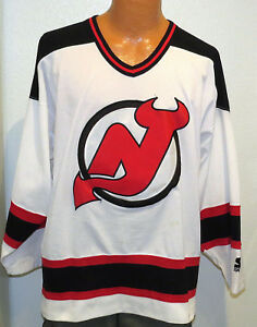 485a74393 vtg NEW JERSEY DEVILS STARTER Jersey LRAGE nhl 90s sewn throwback nj ...