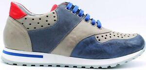 NICOLA BENSON Art.3237B, Sneaker Stringata Uomo, col.Jeans/Grey/Royal/Rosso n.43