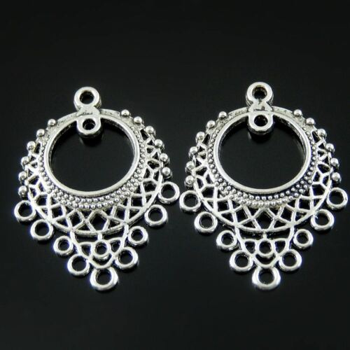 Antique Silver Hollow Collar Alloy Connector Pendants Charms Crafts 20pcs 51961